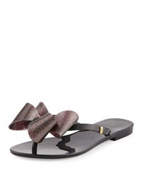 Melissa Harmonic Bow Jelly Thong Sandal Black