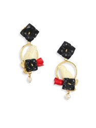 Of Rare Origin Chicks Onyx Coral Bone And Freshwater Pearl Drop Earrings Gold Multi