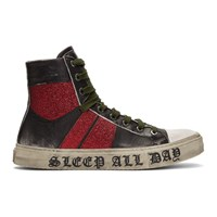 Amiri Black And Red 'Sleep All Day Party All Night' Glitter Sneakers