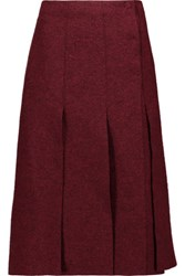 Proenza Schouler Pleated Boiled Wool Wrap Midi Skirt Burgundy