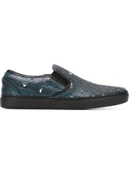 Juun.J Sequin Slip On Sneakers Blue