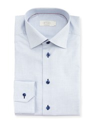 Eton Contemporary Fit Micro Check Dress Shirt Navy Gray Men's