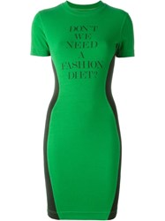 Moschino Vintage Fitted T Shirt Dress Green