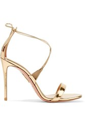 Aquazzura Linda 105 Metallic Leather Sandals Gold