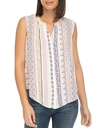 B Collection By Bobeau Fiona Sleeveless Printed Top Ivory Geo Print