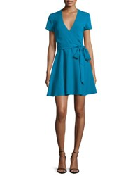 Alice Olivia Adrianna Short Sleeve Mock Wrap Dress Turquoise