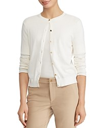 Ralph Lauren Essential Logo Button Cardigan Winter Cream
