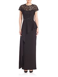 Teri Jon Short Sleeve Asymmetrical Peplum Gown Black
