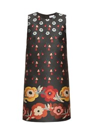 Red Valentino Floral Jacquard A Line Dress Black Multi