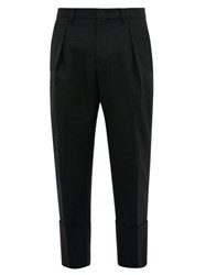 Wooyoungmi Exaggerated Cropped Cuff Wool Twill Trousers Black