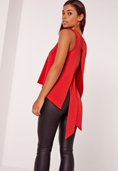 Missguided Tie Back Plunge Vest Red Red