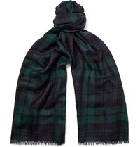 Johnstons Of Elgin Fringed Black Watch Checked Cashmere Scarf Green