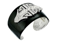 Kenneth Jay Lane Black Enamel With Rhodium And Rhinestone Deco Cuff Bracelet Black Crystal Bracelet Multi