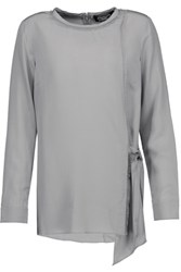 Magaschoni Fringed Washed Silk Blouse Gray