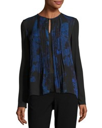 Elie Tahari Northstar Holly Long Sleeve Printed Silk Blouse Bluette