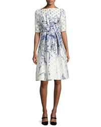 Lela Rose Floral Embroidered Pleated Cocktail Dress Blue Pattern