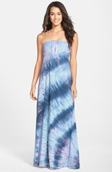 Women's Hard Tail Long Strapless Dress Blue Lavender Tie Dye