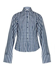 Marques Almeida Gingham Long Sleeved Cotton Shirt Blue White