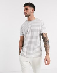 New Look Mini Stripe T Shirt In Light Grey