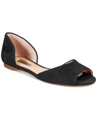 Inc International Concepts Women's Elsah D'orsay Peep Toe Flats Only At Macy's Women's Shoes Black Suede
