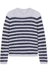 Saint Laurent Striped Sequined Stretch Knit Sweater Silver