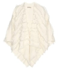 Burberry Wool And Cashmere Fil Coupe Cape White