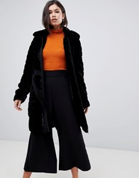 Y.A.S Faux Fur Textured Belted Coat Black
