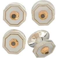 Deakin And Francis Mother Of Pearl And Black Diamond Stud Set