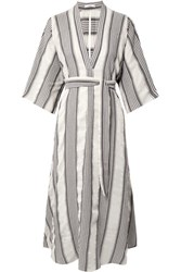 Tome Striped Crinkled Voile Midi Dress Ivory