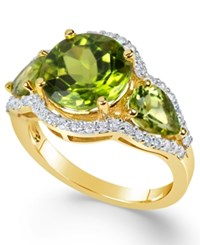 Macy's Peridot 4 3 8 Ct. T.W. And Diamond 3 8 Ct. T.W. Three Stone Ring In 14K Gold