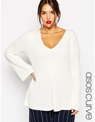 Asos Curve Clean Tunic With V Neck And Long Sleeves Cream