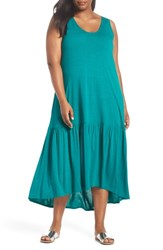 Sejour Plus Size Sleeveless High Low Knit Maxi Dress Teal Sail