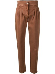 Alberta Ferretti Paperbag Trousers Brown