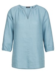 Marc O'polo Tunic Blouse In Pure Linen Blue
