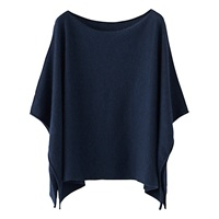 Poetry Pure Cashmere Poncho Blue Black
