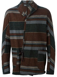 Kolor Shawl Collar Striped Cardigan Multicolour
