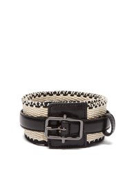 Etro Woven Cotton And Leather Belt Black