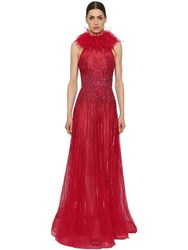 Zuhair Murad Embellished Dress With Feather Collar Red