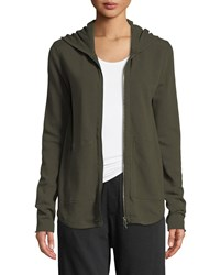 Atm Anthony Thomas Melillo Zip Front French Terry Hoodie Green