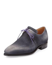 Corthay Arca Suede Derby Shoe With Flint Patina And Purple Piping Grey Gray