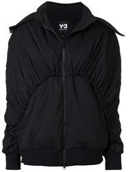Y 3 Zip Up Bomber Jacket Polyester Duck Feathers S Black