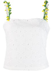 Staud Anglaise Lace Sleeveless Top White