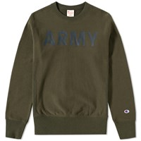 Champion Reverse Weave Army Crew Sweat Green
