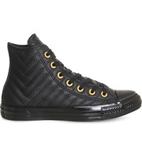 Converse All Star Stitched Leather High Top Trainers Black Gold Quilted