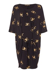 Biba Playing Cards Tie Front Jersey Dress Black Gold