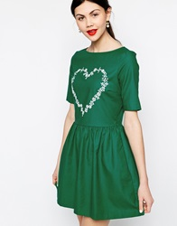 Love Moschino Short Sleeve Skater Dress With Embellished Heart Green