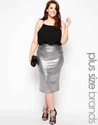 Club L Plus Size Cami Dress With Metallic Skirt Blacksilver