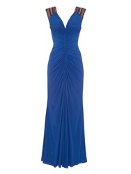 Anoushka G Evana Jersey Maxi Dress Blue