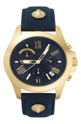 Versus By Versace Lion Chronograph Leather Strap Watch 44Mm Blue Gold