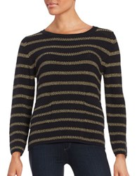 Max Mara Metallic Striped Knit Pullover Gold